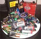 Assortment of various used batteries