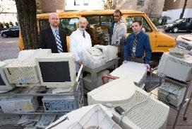 Image of various computer equipment being disposed of.