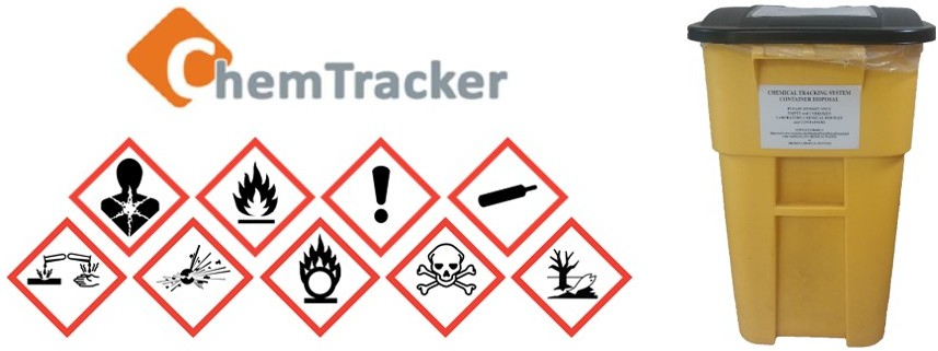 ChemTracker logo with warning signs beneath and a yellow bin to the right