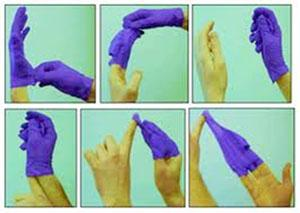 Six images of proper technique in putting gloves on and removing them