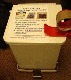 Example of a battery collection container.
